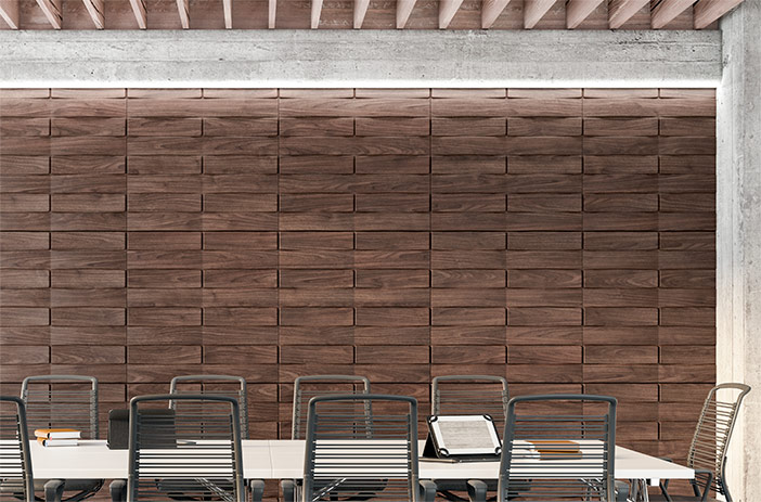 Habitación con pared de paneles de madera