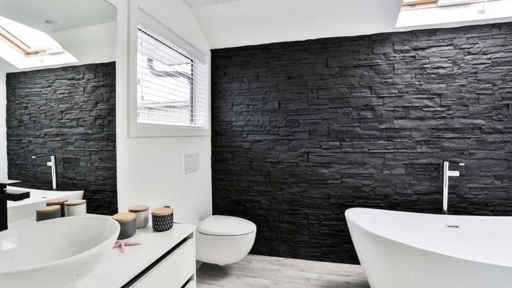 MSD Panels by Muros Black stone bathroom