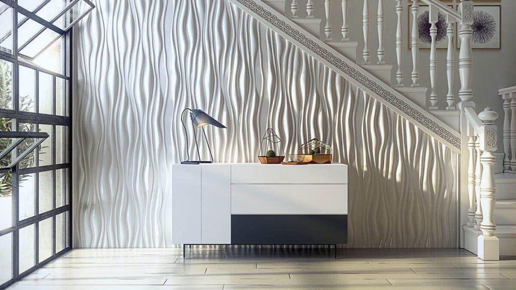 como decorar pasillos estrechos con paneles decorativos